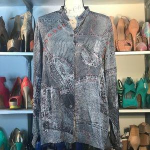 Ana Nonza sheer denim button down blouse